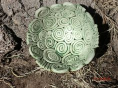 spiral coil pottery bowl glazed in green and white by VilettaLuna, $25.00