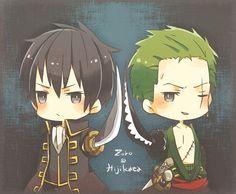 Tags: Fanart, Gin Tama, ONE PIECE, Roronoa Zoro (green hair) and Hijikata Toshirou (black hair)