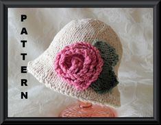 Knitting Pattern for a Brimmed Baby Hat with Two Different Flowers-Children Clothing-Hand Knitted BABY HAT PATTERNS-Pink or Ivory Rose Hat on Etsy, $4.99