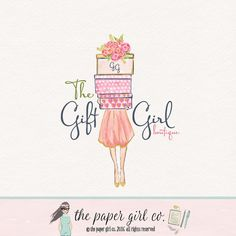 girl with gifts logo gift shop logo presents logo stationery shop logo gift wrapping logo premade logo bespoke gift logo event planner logo