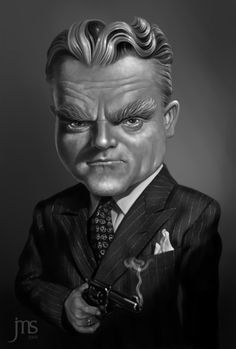 Caricature of James Cagney star of classic gangster flicks The Public Enemy; Angels with Dirty Faces and White Heat design by Javier Martinez Sanchez #GangsterMovie #GangsterFlick