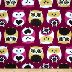 Fleece Owls Fuschia from @fabricdotcom  From Camelot Fabrics, this soft, warm and cozy fleece is light weight, double-sided and anti-pill. Perfect for throws, blankets, jackets, hats, mittens, scarves, slippers, pillows, vests, pullovers and much more!