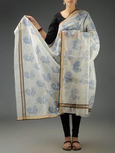 Buy Ivory Blue Birds Maheshwari Printed Dupatta Accessories Dupattas Romantic Impressions Block Online at Jaypore.com