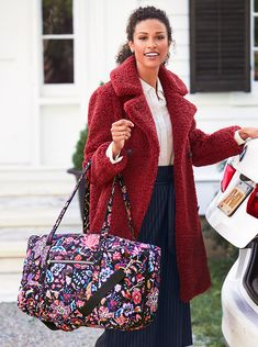 Iconic Lay Flat Duffel in Foxwood Duffel Bag, Long Weekend, Shoulder Pads, Travel Bags, Sewing Ideas, Vera Bradley, Style Icons, Addiction, Flat
