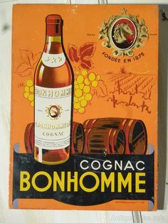 Antiques Atlas - French Cognac Advertising Sign Vintage Advertising Posters, Retro Posters, Vintage Advertisements, French Cognac, Crown Royal Drinks, St Patricks Day Drinks, Peach Drinks, Industrial Signs, Whiskey Girl