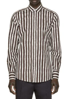 Dolce & Gabbana Brown & White Striped Shirt from SSENSE (men, style, fashion, clothing, shopping, recommendations, stylish, menswear, male, streetstyle, inspo, outfit, fall, winter, spring, summer, personal)