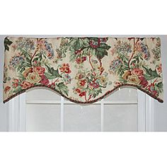 @Overstock - Shallis Bouquet Cornice Valance features a mid-scale floral pattern in rich tones of red, pink, white, periwinkle and green displayed on a parchment linen-like background. This valance is lined and finished with a pink and green cord trim.    http://www.overstock.com/Home-Garden/Shallis-Bouquet-Cornice-Valance/6670792/product.html?CID=214117 $52.99