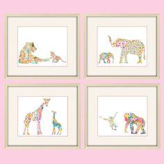 Elephant art, giraffe nursery decor, jungle nursery art,elephant nursery art,monkey nursery,baby girl nursery,childrens art, baby girl decor