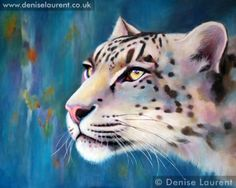 snow leopard oil painting by Denise Laurent