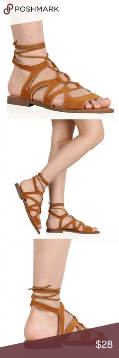 Lace up gladiator sandals Fringed detail, gladiator sandals lace up to ankles. Camel brown faux suede. New in box. PD Shoes