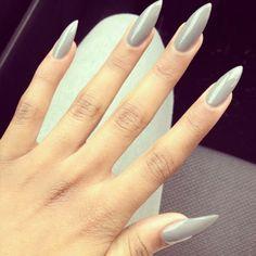 Grey Stiletto Acrylic Nails