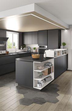 Renovate and relook kitchen shelves - HomeDBS Kitchen Room Design, Kitchen Cabinet Design, Modern Kitchen Design, Kitchen Layout, Interior Design Kitchen, Kitchen Decor, Interior Modern, Modern Kitchen Cabinets, Kitchen Flooring