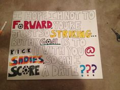 Sadie's proposal soccer ideas