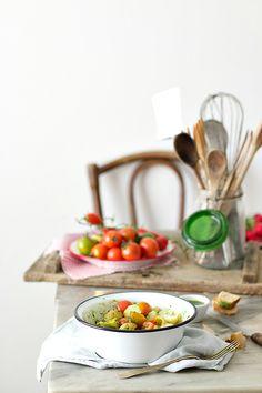 potato salad with rucola pesto and green beans