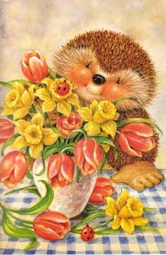 My Wishlist - Ekaterina Chistyakova - Picasa Web Albums Hedgehog Art, Cute Hedgehog, Children's Book Illustration, Illustrations, Cute Animal Pictures, Easter Pictures, Spring Art, Woodland Creatures, Love Painting