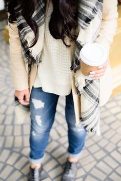 Go tonal this fall in cream tone hues & an on-trend plaid scarf. Pair the look with distressed denim for effortless weekend style.