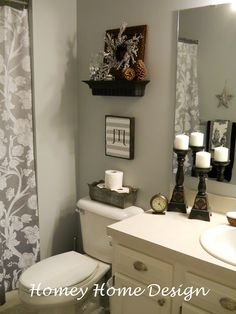 Light grey paint & decor update washroom.