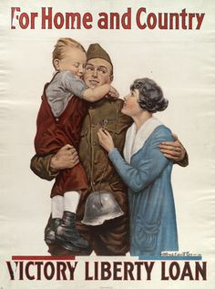 Vintage World War 1 Poster image of a Untied States Army Soldier with Family, brother, mother, For Home and Country, Victory Liberty Loan; Click to enlarge this USA Patriotic WW1 Poster copyright free public domain images graphic artwork.