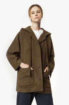Khaki Green Merino Wool Midi Coat with Hood