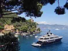 Magnificant motor-yacht moored at Portofino.