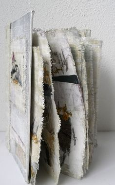 'Incomprehensible' / machine embroidery, paint, writing and collage - mixed media book by Willy Schut