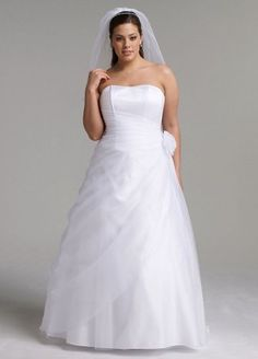 #Curvy Long Organza #Gown with Flower Detail at Waist