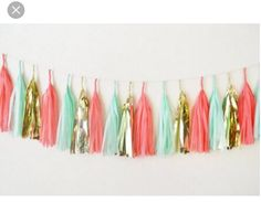 Coral, gold, and turquoise tassel banner!