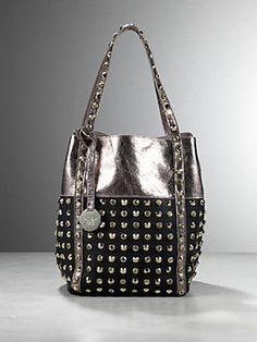 Buy Eco-leather bag with rhinestone and studded detailing, Swarovski rhinestone detailing, shiny Eco Leather, Patrizia Pepe  maxi detachable coin pendant, dimensions/cm L22xH32xD22