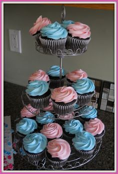 Gender Reveal Party! Pink and Blue cupcakes