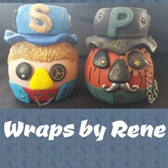 Steampunk Scarecrow and Pumpkin Salt and Pepper by WrapsbyRene
