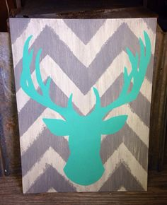 """Hand painted 18x24"""" wooden sign - Gray and White chevron with Turquoise buck silhouette on Etsy, $37.00"""