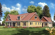 JJR****PERFECT!!!! The only thing I'd change is, I would make the kitchen island a large rectangle.    Elevation of Craftsman   Traditional   House Plan 58230