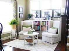 Love the bookshelves behind the two chairs idea! I am gonna try that tonight!