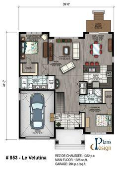 Home Design Drawings 853 - Le Velutina Bungalow Plain pied Bungalow Floor Plans, Farmhouse Floor Plans, Cabin Floor Plans, Small House Plans, Small House Design, Modern House Design, Bungalow House Design, Home Design Plans, Plan Design