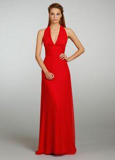Candy apple chiffon Grecian gown, plunging V-neckline, cummerbund at natural waist, ruched slit back, soft A-line skirt, sweep train.