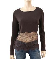 VALENTINO Cashmere Lace Panel Sweater, Large