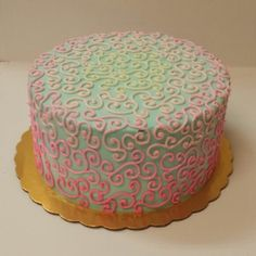 Blue and pink ombre swirl cake. Buttercream.