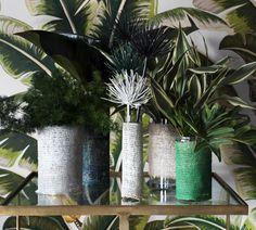 Simple painted hessian wrap around a jar to make a vase - visa Haynes paints.