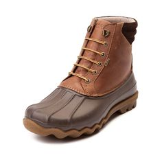 Mother Nature has met its match. Here to help you brave the elements in style, it's the Sperry Top-Sider Duck Boot for men. This durable Sperry duck boot features a stain- and water- resistant leather upper, waterproof duck toe, thermal lining, and rigid rubber lug outsole for traction to keep you dry, warm, and grounded all season long.     Features include   Stain- and water-resistant leather upper   Waterproof duck toe