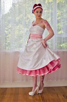 Betty Wedding Dress from Pixie Pocket Tea Length Wedding Dress, Wedding Dresses Plus Size, White Wedding Dresses, Trendy Dresses, Short Dresses, Gangster Wedding, Tea Length Skirt, Satin Skirt, I Dress