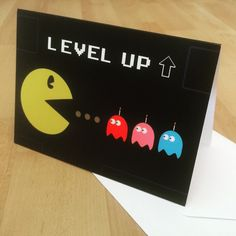 """New in: Retro Pac Man """"Level Up"""" style birthday card! Ideal for a gaming geek or Pac Man fan. Store link in bio."""