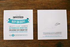 Cute baby boy shower invite!