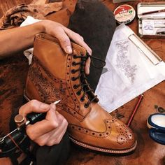 Rose Tattoo design on tan leather Wren brogue boots. Sweeney Tattoo exclusive at Oliver Sweeney