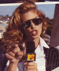 Cindy Crawford. I MISS the way MTV was back in the eightees! It is a wasto station now.