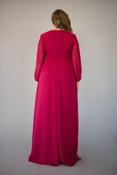 The long-sleeved Vivian Dress is graceful & timeless and will fit right into any bridal party. Berry Bridesmaid Dresses, Affordable Bridesmaid Dresses, High Neck Dress, Bridal, Formal Dresses, Lady, Long Sleeve, Collection, Tops