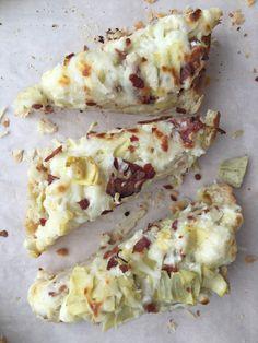 Asiago Artichoke French Bread Pizza w. Bacon... so easy, yet tastes decadent.