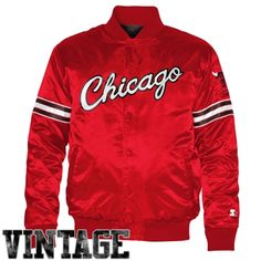 Chicago Bulls Starter Satin Full Button Jacket - Red