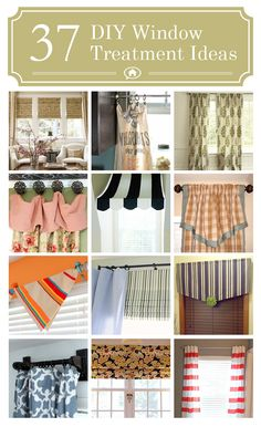 37 DIY Window Treatments —Lots of easy no-sew ideas and more! I like the idea of blinds and one long curtain rod with multiple curtains for the living room