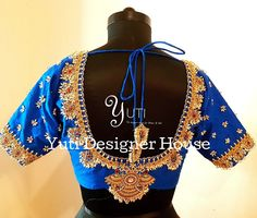 A Royal looking Guttapusalu blouse by YUTI! Beautiful royal blue color designer blouse with hand embroidery jewellery theme work. Work with guttapusalu hangigns. For Price and Other details reach at 044-42179088 or Whatsapp: 7010905260. 26 February 2018