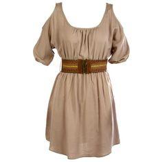 Cold Shoulder Belted Dress ($40) ❤ liked on Polyvore